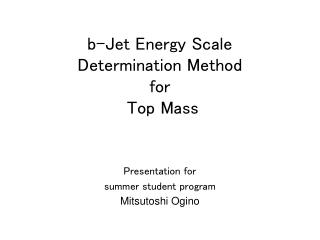 b-Jet Energy Scale  Determination Method  for  Top Mass