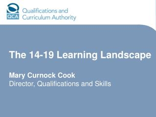 The 14-19 Learning Landscape  Mary Curnock Cook Director, Qualifications and Skills