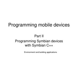 Programming mobile devices
