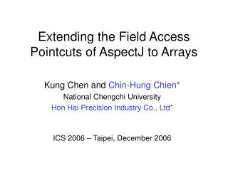 Extending the Field Access Pointcuts of AspectJ to Arrays