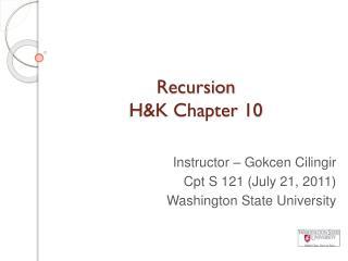 Recursion  H&K Chapter 10