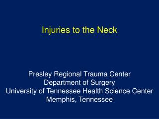 Injuries to the Neck