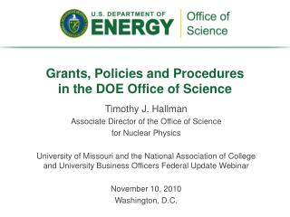 Grants, Policies and Procedures  in the DOE Office of Science