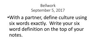 Bellwork September 5, 2017