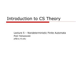 Introduction to CS Theory