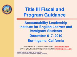Title III Fiscal and Program Guidance
