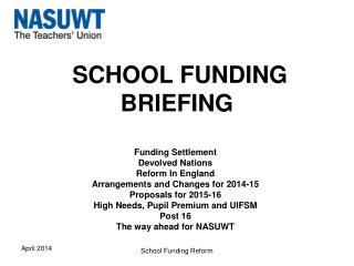 SCHOOL FUNDING BRIEFING
