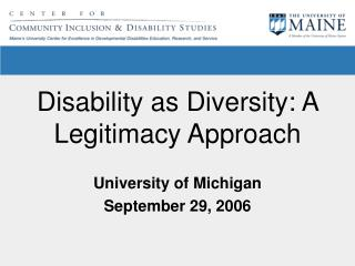 Disability as Diversity: A Legitimacy Approach