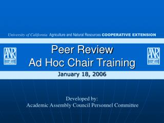 Peer Review  Ad Hoc Chair Training