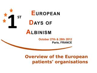 Overview of the European patients' organisations