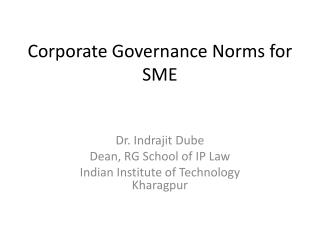 Corporate Governance Norms for SME