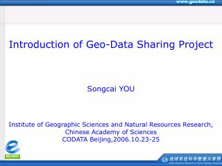Institute of Geographic Sciences and Natural Resources Research, Chinese Academy of Sciences