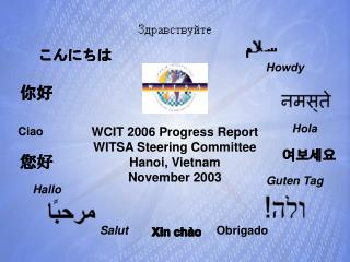WCIT 2006 Progress Report WITSA Steering Committee Hanoi, Vietnam November 2003