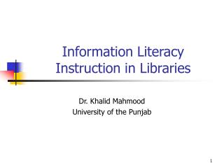 Information Literacy Instruction in Libraries