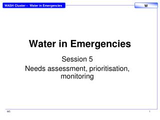 Water in Emergencies