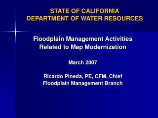 STATE OF CALIFORNIA DEPARTMENT OF WATER RESOURCES