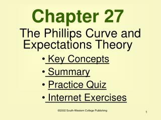Chapter 27 The Phillips Curve and Expectations Theory