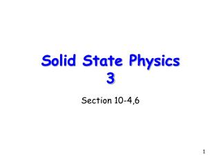Solid State Physics 3