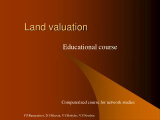 Land valuation