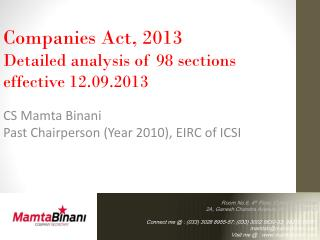 Companies Act, 2013 Detailed analysis of 98 sections  effective 12.09.2013 CS  Mamta Binani