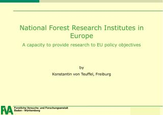 National Forest Research Institutes in Europe