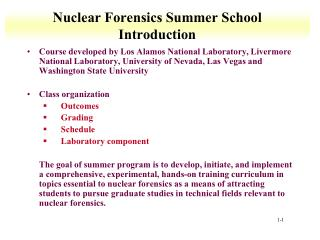 Nuclear Forensics Summer School Introduction