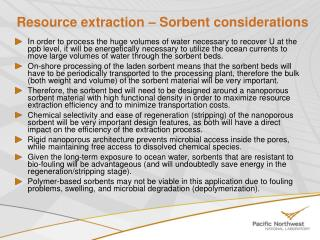 Resource extraction – Sorbent considerations