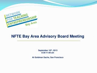 NFTE Bay Area Advisory Board Meeting