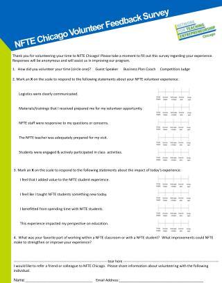 NFTE Chicago Volunteer Feedback Survey