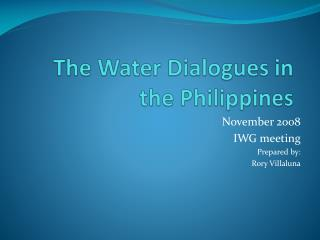 The Water Dialogues in the Philippines