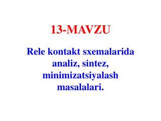 13- MAVZU