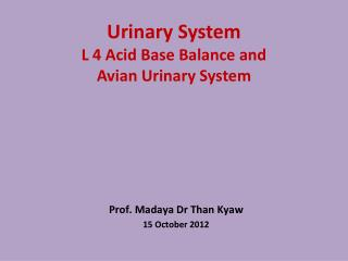 Urinary System  L 4 Acid Base Balance and  Avian Urinary System