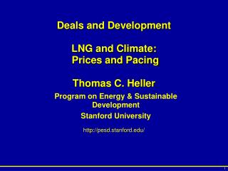 Deals and Development LNG and Climate:  Prices and Pacing Thomas C. Heller