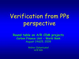 Verification from PPs perspective