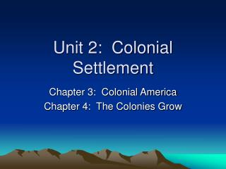 Unit 2:  Colonial Settlement