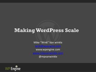 Making  WordPress  Scale