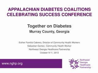 APPALACHIAN DIABETES COALITIONS CELEBRATING SUCCESS CONFERENCE