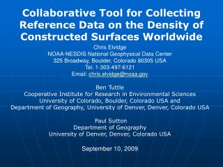Collaborative Tool for Collecting Reference Data on the Density of Constructed Surfaces Worldwide
