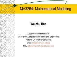MA3264: Mathematical Modeling