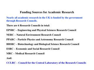 Funding Sources for Academic Research