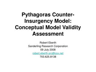 Pythagoras Counter-Insurgency Model: Conceptual Model Validity Assessment