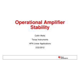 Operational Amplifier Stability