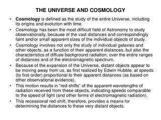 THE UNIVERSE AND COSMOLOGY