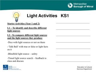 Light Activities   KS1