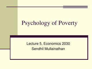 Psychology of Poverty