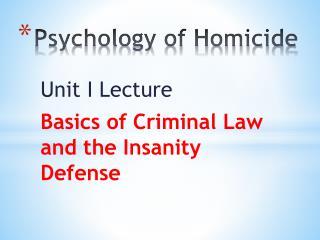 Psychology of Homicide