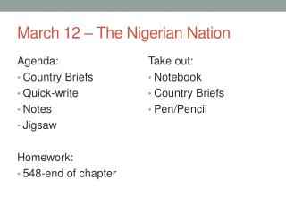 March 12 – The Nigerian Nation