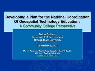 Developing a Plan for the National Coordination Of Geospatial Technology Education: