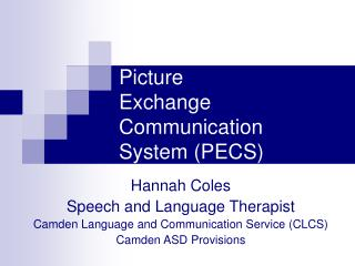 Picture  Exchange Communication  System PECS