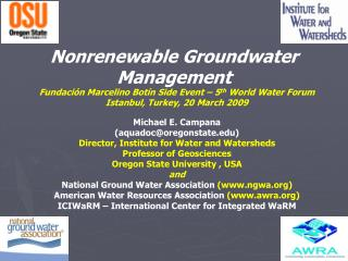 Nonrenewable Groundwater Management
